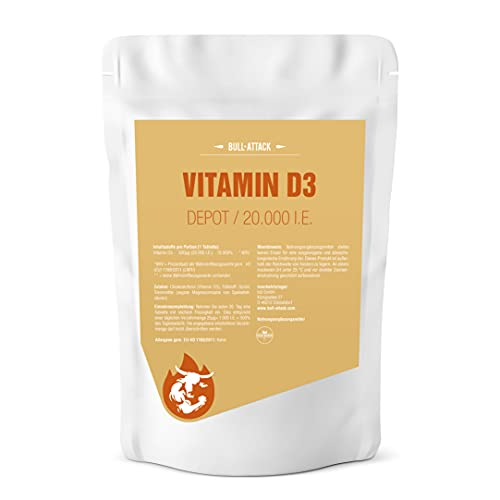VITAMIN D3 20000 I.E. DEPOT - 360 veganistische tabletten I Opslagverpakking XXL I Sunshine Vitamine D-3-1000 I.E. om de 20 dagen I Made in Germany