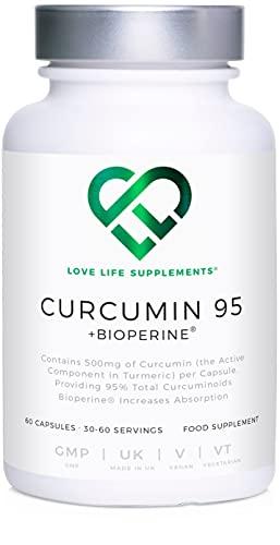Curcumin 95 + Bioperine® by LLS | Hoogste kwaliteit kurkuma extract, die ALLEEN CURCUMIN bevat (het actieve bestanddeel van kurkuma) met 95% Curcuminoïden en Bioperine® (zwarte peper extract) | 500mg x 60 Veg Capsules | Vervaardigd in het Verenigd Koninkrijk onder BRC certificering