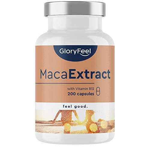 Maca 2500mg capsules Hoge dosering - 200 veganistische capsules - Origineel Macawortelextract uit Peru PLUS-vitamine B12 - In het laboratorium geteste productie zonder additieven in Duitsland