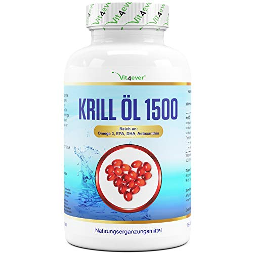 Krill-olie - 135 capsules - Premium: Antarctic krillolie - rijk aan EPA + DHA + astaxanthine + fosholipide + omega 3 vetzuren - laboratorium getest - vrij van schadelijke stoffen
