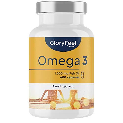 Omega 3-400 capsules (13 maanden) - 1000mg visolie per capsule - kwalitatieve & essentiële omega 3 vetzuren EPA + DHA - uit duurzame visserij, laboratorium getest en geproduceerd in Duitsland