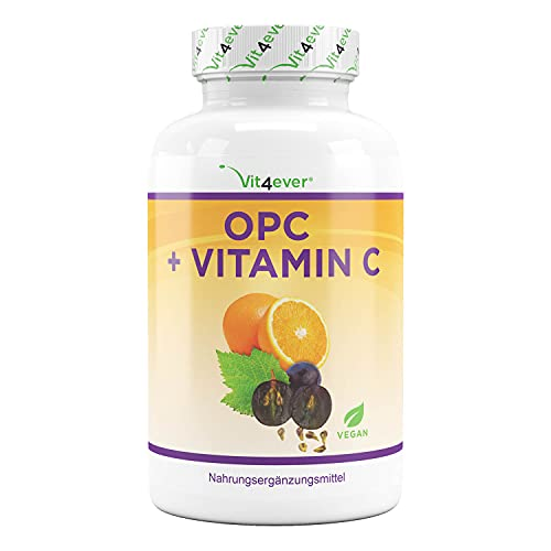 OPC druivenpitextract + vitamine C – 1050 mg per dagelijkse dosis (2 capsules) – in laboratorium geteste premium OPC van Europese druiven – hoge dosis – veganistisch