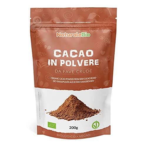 Biologisch Cacaopoeder 200 gram. 100% Bio, Natuurlijk en Zuiver. Geproduceerd in Peru van de Boom Theobroma Cacao. Bron van Magnesium, Mangaan en Fosfor. NaturaleBio