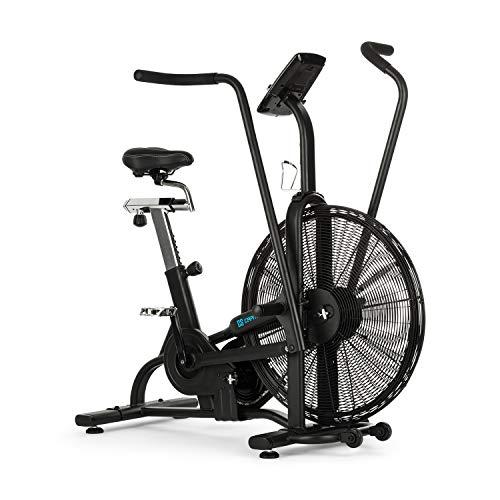 Capital Sports Strike Bike - hometrainer, cardiotrainer, ventilatieweerstand, geïntegreerde trainingscomputer, Bluetooth, in hoogte en diepte verstelbaar, tablethouder, max. 150 kg, zwart