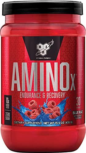 BSN Amino X BCAA poeder, suikervrije aminozuren complex hoge dosis met vitamine D, vitamine B6, arginine, taurine en alanine, blauwe framboos, 30 porties, 435 g