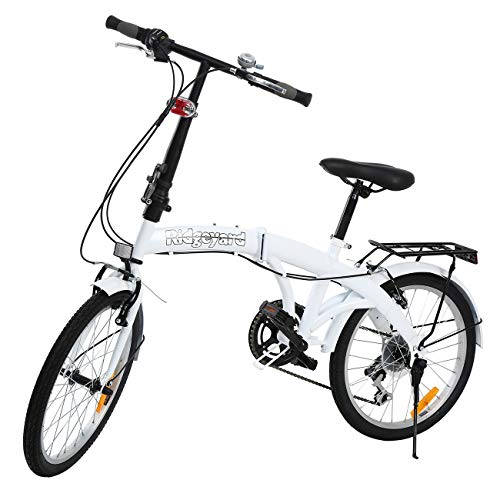 MuGuang Opvouwbare fiets 20 inch 7 versnellingen vouwmachine met LED-batterijlamp voor achterhouder Folding Bike (White)