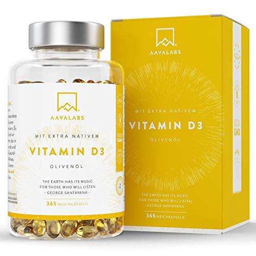 Vitamine D3 5000 IE Hoge Sterkte - Extra Virgine Olijfolie voor Optimale Absorptie - GGO-, Gluten- en Lactosevrij - Draagt bij aan Bot-, Spier- en Immuunfunctie - 365 Capsules