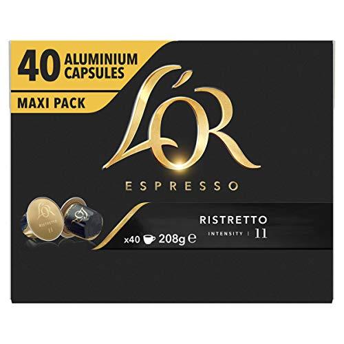 L'OR Espresso Koffiecups Ristretto (160 Ristretto Koffie Capsules, Geschikt voor Nespresso* Koffiemachines, Intensiteit 11/12, 100% Arabica Koffie, UTZ Gecertificeerd), 4 x 40 Cups