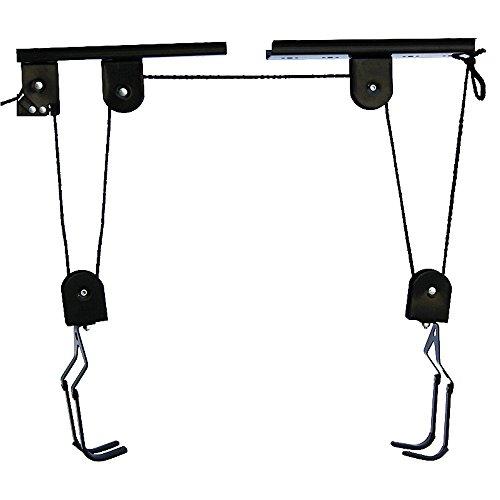 Fietsophanging, fietslift, tot 30 kg, fietsplafondhouder Bike Lift Bis, met trekkoord, voor garage en kelder, zwart