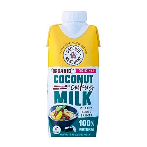 Coconut Merchant Biologische Kokosmelk 330ml x6   Tetra Pak   voor Curries, Soepen, Sauzen, Smoothies en Drinks   Vegan  Ethisch Bron   Drinken, Toevoegen, Roer het   330ml x6