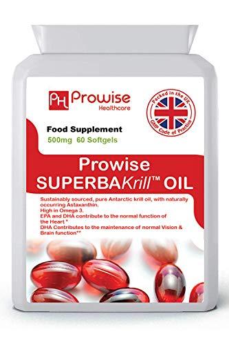 Superba krillolie 500 mg 60 softgels - 1000 mg per portie - hoogwaardige, pure rode krill uit Antarctica die een rijke bron van omega biedt   UK vervaardigd   GMP-standaarden door Prowise Healthcare