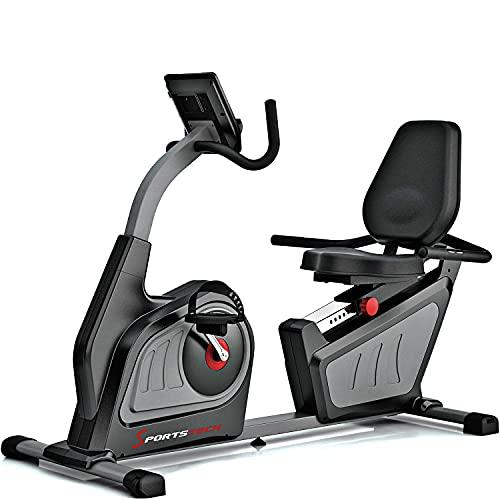 Sportstech ES600 professionele ergometer met app-besturing en geintegreerde stroomgenerator + hartslagband optioneel, HRC, optimaal ergonomisch zitcomfort + ligergometer hometrainer met rugleuning