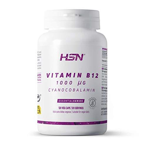 Vitamine B12 van HSN   Cyanocobalamine 1000 mcg   Essentieel voor Groenten en Vegetariërs + Verbetert het energiemetabolisme   Glutenvrij, Lactosevrij, 120 Groentecapsules