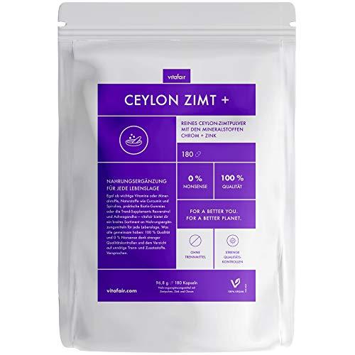 VITAFAIR Ceylon Kaneel Capsules met Chroom & Zink Supplement - Superfoods met Antioxidanten - Veganistisch, zonder chemische Stoffen - Made in Germany - 180 Stuks á 96,8g - 400mg per Dagelijkse Dosis