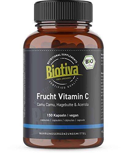 Vitamine C Complex Organisch - 150 capsules hoge dosering - 5 maanden levering - natuurlijk 100% biologisch - Acerola, Camu Camu en rozenbottel - Gebotteld en gecontroleerd in Duitsland (DE-ÖKO-005) - 100% veganistisch