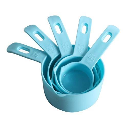 Blauwe maatlepels Sets Draagbare Stapelbare Kunststof Combinatie Meetlepels met O-ring 5 Stks 30-250ml Exacte Metingen Vloeibare Kruidenpoeder Koffiebar Thuis Gebruik Koffie Meetmelk Drink Ect