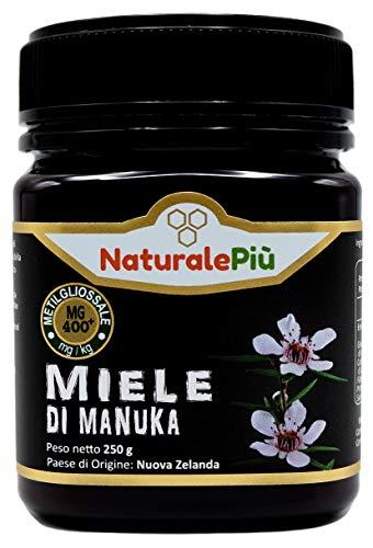 Manuka Honing 400+ MGO 250 gram. Geproduceerd in Nieuw-Zeeland, actief en rauw, 100% zuiver en natuurlijk. Getest op methylglyoxal door geaccrediteerde laboratoria. NaturalePiù