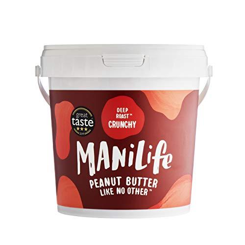 ManiLife Pindakaas - Geheel Natuurlijk, Enkele Herkomst, Geen Toegevoegde Suiker, Geen Palmolie - Deep Roast Crunchy- (1 x 1kg)