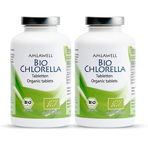 AMLAWELL Biologische chlorella-tabletten - 500 g eiwitrijke chlorella-persen met ijzer, chlorofyl en vitamine B12, veganistisch