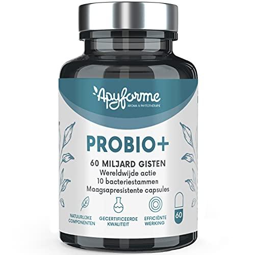 Probiotica Voor Darmflora - Tot 60 miljard kve/dag - 10 Stammen: Immuniteit, Spijsvertering, Prikkelbare Darm Syndroom - 100% FRANS Voedingssupplement - Probio+ Geproduceerd Door Apyforme