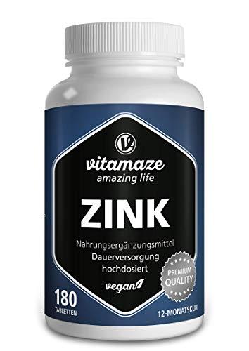 Zink Tabletten 25 mg Hoge Dosis, 180 Veganistische Tabletten voor 12 Maanden, Beste Biobeschikbaarheid, Natuurlijk & Organisch Supplement zonder Additieven, Made in Germany