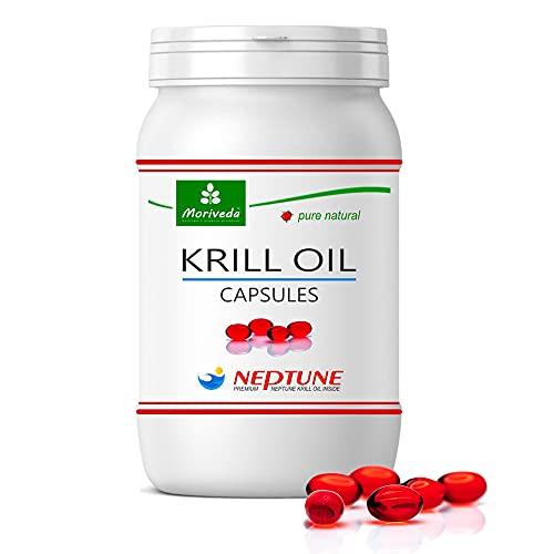 MoriVeda®   Krill olie capsules 90 of 270, 100% pure NEPTUNE premium krilloil - Omega 3,6,9 astaxanthine, fosfolipiden, choline, vitamine E - Merkkwaliteit (1x90 Softgels)
