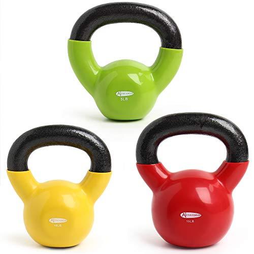 ActiveForever Kettlebell, Neopreen Gecoat Gietijzeren Kettlebell, Fitness Kettlebell (Groen + Geel + Rood, 5Lb+10Lb+15Lb)