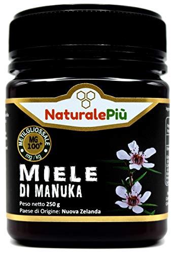 Manuka Honing 100+ MGO 250 gram. Geproduceerd in Nieuw-Zeeland, actief en rauw, 100% zuiver en natuurlijk. Getest op methylglyoxal door geaccrediteerde laboratoria. NaturalePiù