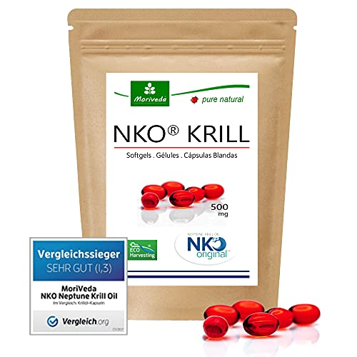 MoriVeda®   NKO Krill olie softgelcapsules (testwinnaar) 30, 90 of 270 stks. in apotheekkwaliteit - Omega 3,6,9 astaxanthine, vitamine E, choline, fosfolipiden, krilloil (1x30 Softgels)