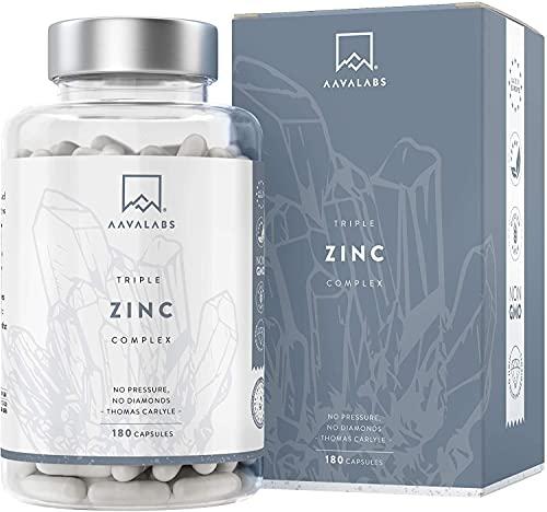 AAVALABS® Drievoudig Zink - Hooggedoseerd - 25mg per dosis - Volledig Spectrum Mix - 180 Tabletten - 3X Zinkvormen - Picolinaat, Bisglycinaat + Monomethionine afweer supplementen vitamine c met zink