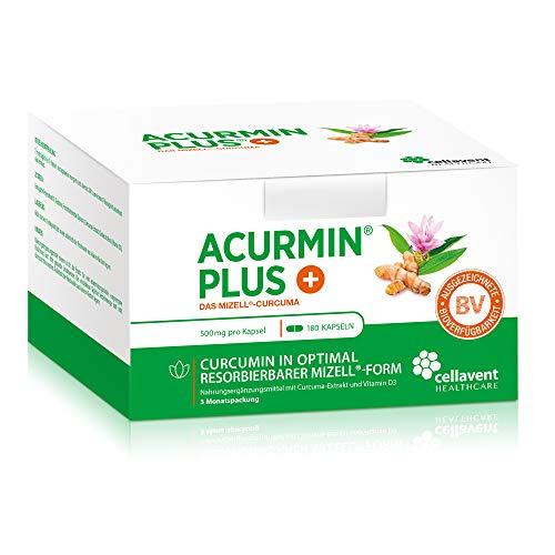 Kurkuma-capsules hoge dosering Acurmin PLUS - micellaire curcumine C14 gecertificeerd - zonder peper, piperine, 180 capsules