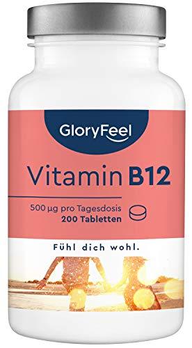Vitamine B12 + Foliumzuur - 200 veganistische tabletten (13 mnate)- Beide bioactieve vormen + depot + foliumzuur - Laboratorium getest, hoge dosering & gemaakt in Duitsland