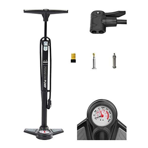 Dansi Staande luchtpomp zwart met adapters; praktische fiets-luchtpomp geschikt voor alle ventielen SV AV DV I bandenpomp met grote manometer, zwart