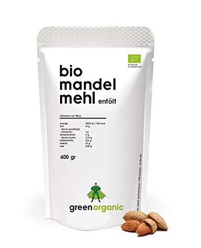 Biologische premium amandelmeel, wit, laagcarb, glutenvrij, veganistisch, ontolied, eiwitrijk, rijk aan vezels, Paleo Superfood, duurzaam en eerlijk geteeld, 400 g