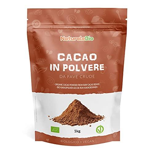 Biologisch Cacaopoeder 1 Kg. 100% Bio, Natuurlijk en Zuiver. Geproduceerd in Peru van de Boom Theobroma Cacao. Bron van Magnesium, Mangaan en Fosfor. NaturaleBio