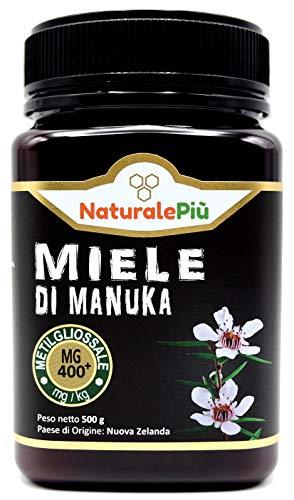 Manuka Honing 400+ MGO 500 gram. Geproduceerd in Nieuw-Zeeland, actief en rauw, 100% zuiver en natuurlijk. Getest op methylglyoxal door geaccrediteerde laboratoria. NaturalePiù
