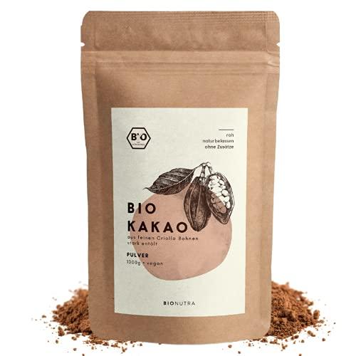 BioNutra® Bio Cacao Poeder | Biologisch Mager Cacaopoeder | Slechts 11% Vet | Gemalen van Criollo-bonen | Zonder Suiker | 1000 g
