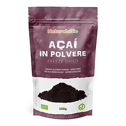 Biologisch Açaí Bessenpoeder [Gevriesdroogd] 100 gram. 100% Geproduceerd in Brazilië, Gevriesdroogd, Rauw en Gewonnen uit het Vruchtvlees van de Açaíbes. NaturaleBio