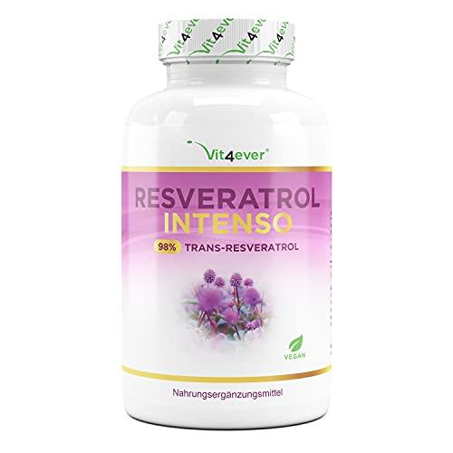 Resveratrol met 500 mg per capsule - Premium: 98% trans-resveratrol van Japans duizendknoop-extract - 60 capsules - Verbeterde biologische beschikbaarheid door piperine - Hoge dosis - Veganistisch