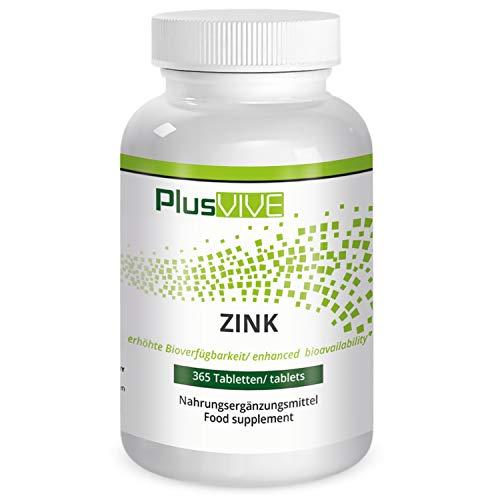 PlusVive - Zink tabletten - hoog gedoseerd: 25 mg zuiver zink van zink bisglycinaat per tablet - 365 veganistische tabletten - Made in Germany