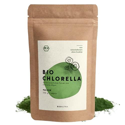 BioNutra® Biologisch Chlorella Poeder | 250 g | Hersluitbare Verpakking | Gebroken Celwand voor Optimale Opname van Voedingsstoffen