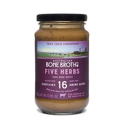 Australian Beef Bone Broth Concentrate - Five Herbs- Instant Bone Broth Beverage- Improve Your Digestive Well-Being, Joint + Bone Health. Gluten & Dairy Free 375-gram Glass jar Made in Australia