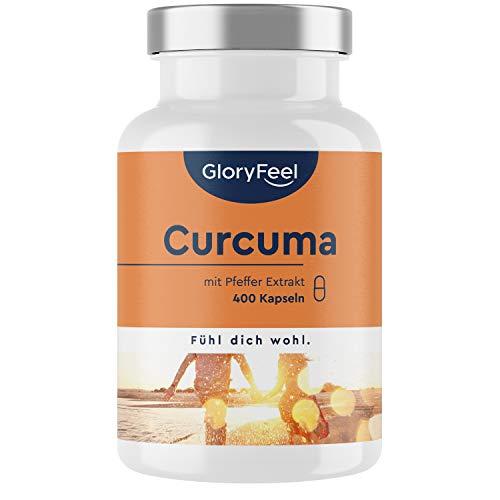 Kurkuma 400 capsules - prijswinnaar 2020 - origineel kurkumapoeder uit India 700 mg per capsule - bevat curcumine & piperine - laboratoriumgeteste productie in Duitsland