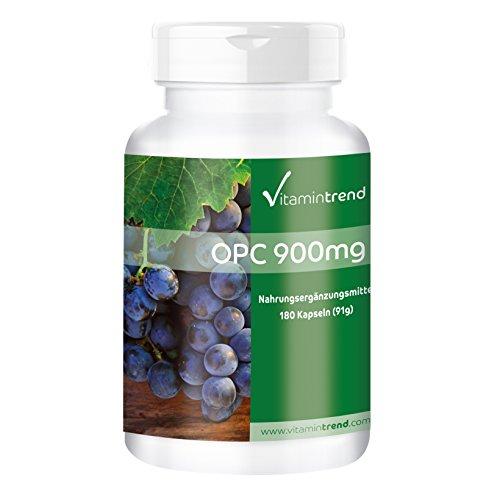 OPC-druivenpitextract met vitamine C 900mg - 180 tabletten - Hoge dosering, veganistisch en gemaakt in Duitsland