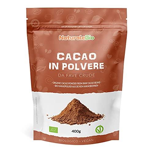 Biologisch Cacaopoeder 400 gram 100% Bio, Natuurlijk en Zuiver. Geproduceerd in Peru van de Boom Theobroma Cacao. Bron van Magnesium, Mangaan en Fosfor. NaturaleBio