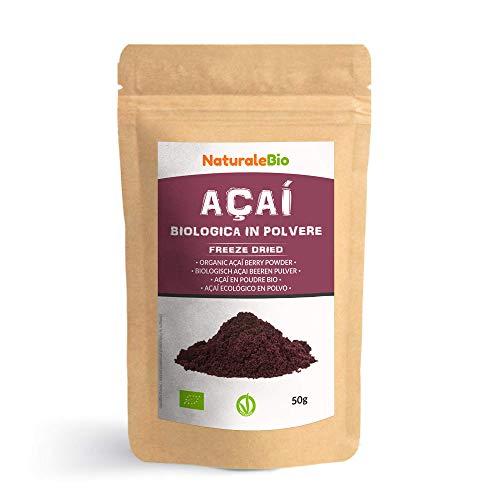 Biologisch Açaí Bessenpoeder [Gevriesdroogd] 50 gram. 100% Geproduceerd in Brazilië, Gevriesdroogd, Rauw en Gewonnen uit het Vruchtvlees van de Açaíbes. NaturaleBio