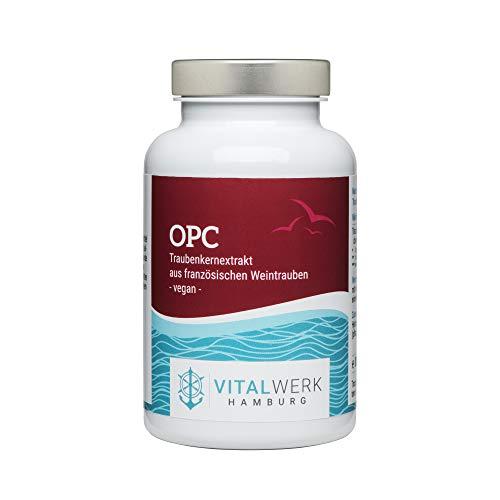 VITALWERK HAMBURG® OPC capsules, 180 veganistische capsules, 400 mg druivenpitextract van Franse druiven, slechts 1 capsule per dag, streng gecontroleerd