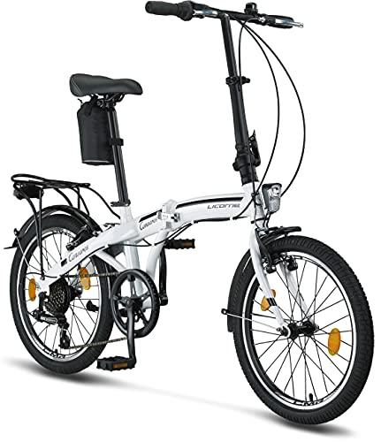 Licorne Bike Premium vouwfiets in 20 inch - fiets voor heren, jongens, meisjes en dames - 6 versnellingen - Hollandfiets - Conseres - wit/zwart