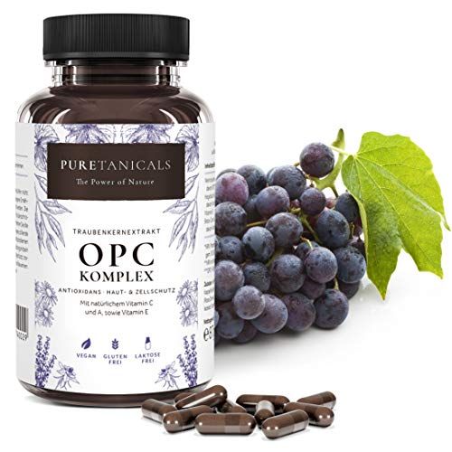 OPC Ruivenpit Extract Capsules + Natuurlijke Vitamine C, A & E   Antioxidant Complex Hoge Dosis Laboratorium Getest   530mg Zuiver Extract, Druivenp uit Duitsland Veganistisch zonder Magnesiumstearaat