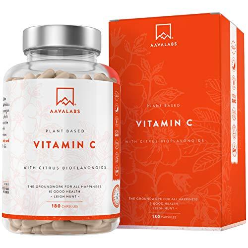 Natuurlijke Vitamine C - Meer dan 1000 mg Per Dagelijkse Dosis [1027,5 mg] - 180 Capsules - met Natuurlijke Citrusflavonoïden, Rozenbottel, Camu Camu - 2 maanden voorraad